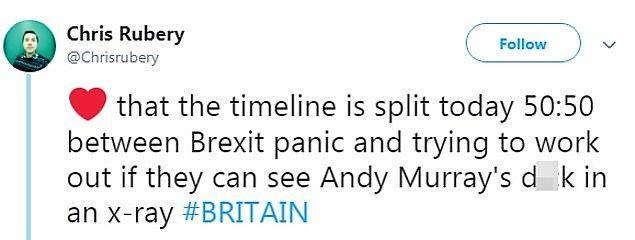 """""""Sosyal medyanın akışı bugün 50:50 ikiye bölündü. Brexit paniği ve Andy Murray'nin röntgeninde ç*kü görülebiliyor mu?"""""""