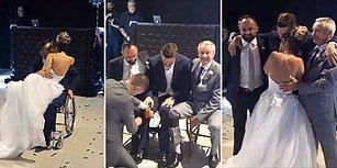 Gözyaşlarınızı Tutamayacaksınız! Kardeşi ve Babası Sayesinde Kendi Düğününün İlk Dansını Ayakta Yapan Engelli Damat!