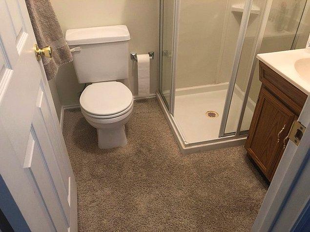 18. Halı kaplı banyo...