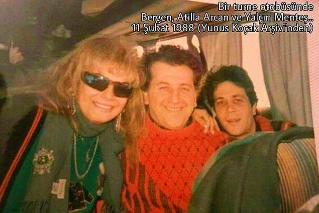 88 yılından bir fotoğraf: Bir turne otobüsünde Atilla Arcan ve Bergen ile birlikte...