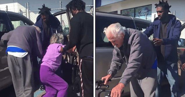 RAP şarkıcısı olan 3 kişi el birliğiyle yaşlı çifti araçlarına bindirdi.