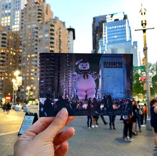 Andrea, dev Marshmallow Man karakterinin New York'a korku saldığı anları harika bir şekilde canlandırmış!