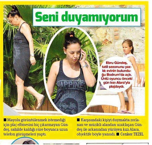 4. Tatil sezonunu açan Ebru Gündeş'in plaj elbisesini hiç çıkarmamasına ve müzik sesinden uzaklaşarak telefonda konuşmasına ne demeli peki?