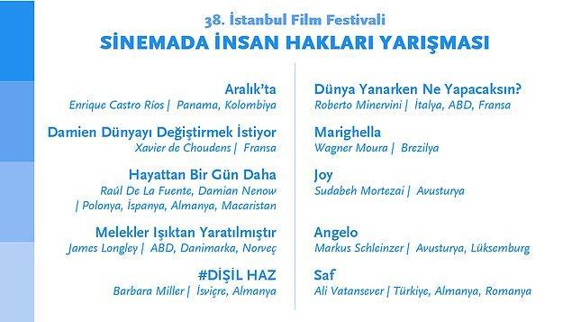Sinemada İnsan Hakları Yarışması'nda ise bu yıl 10 film yarışacak.