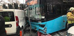 İstanbul'da Özel Halk Otobüsü Kaza Yaptı: Yaralılar Var