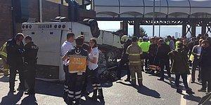 İzmir'de Servis Minibüsü Devrildi: Yaralılar var