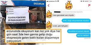 Düşüyor mu Böyle? Doğu Ekspresi'yle Geçenleri Erzurum'da Pankartla Karşılayan ve Batılı Düşürmeye(!) Çalışan Genç