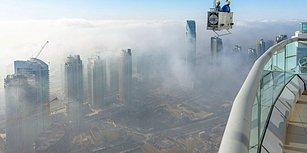 Dubai'nin 300 Metrelik Gökdeleninde Süper Kahraman Edasıyla Cam Temizliği Yapan Korkusuz Çalışanlar