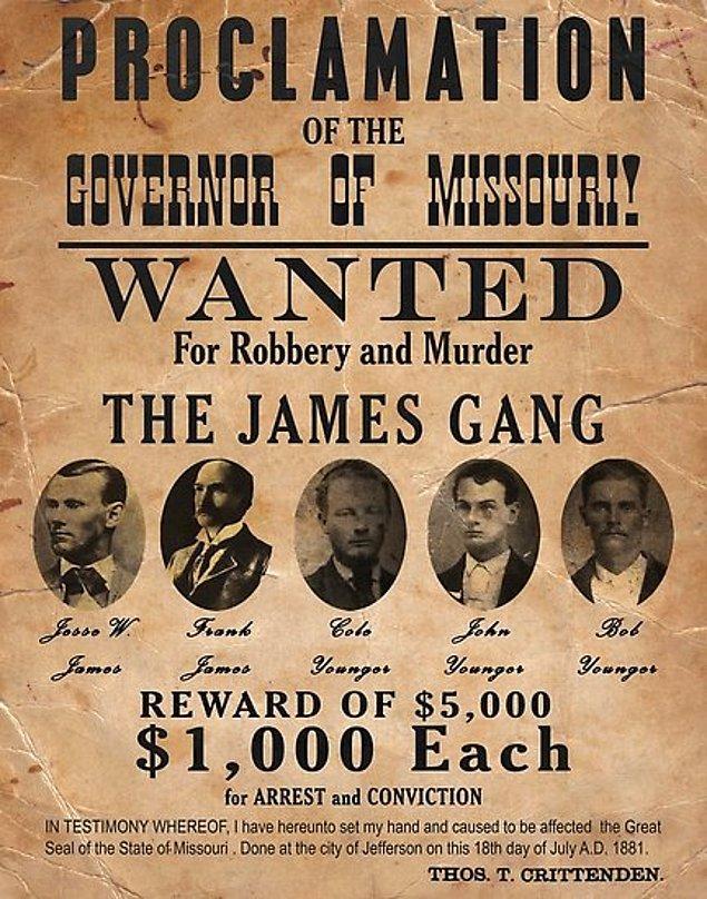 Başta Pinkerton Ulusal Dedektiflik Ajansı olmak üzere Amerikan güçleri onu yakalamak için o kadar uğraştı ki Missouri Valisi, Jesse James'in ölü yada diri yakalanması için ödül koymuştur.