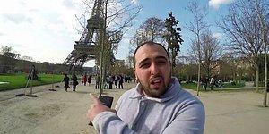 Eyfel Kulesine Türk Bayrağı Asan Kahramanmaraşlı Adam