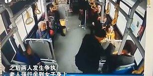 Otobüste Kendisine Yer Vermeyen Kadının Kucağına Oturan Yaşlı Adam