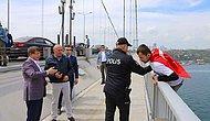 AKP Logolu Tişörtle Köprüde İntihar Girişiminde Bulunan Genci Ahmet Davutoğlu İkna Etti