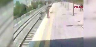 Kendi Canını Hiçe Saydı: Tren Raylarına Atlayan Kişiyi Son Anda Kurtardı