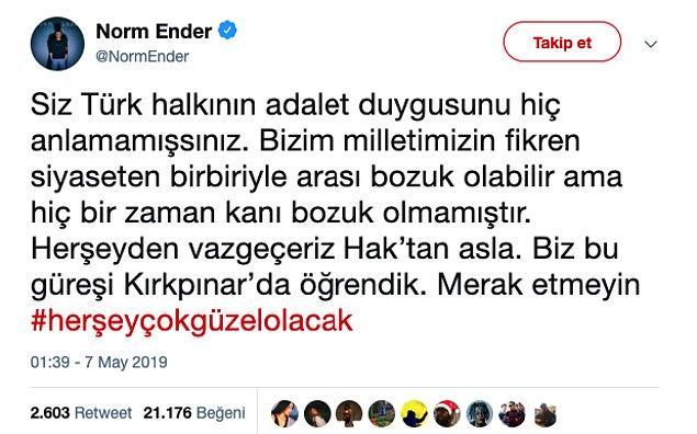 Eleştirenlerden biri de Norm Ender lakaplı, Ender Eroğlu.