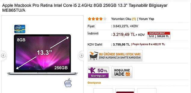 2014 Macbook Pro 3.799 TL
