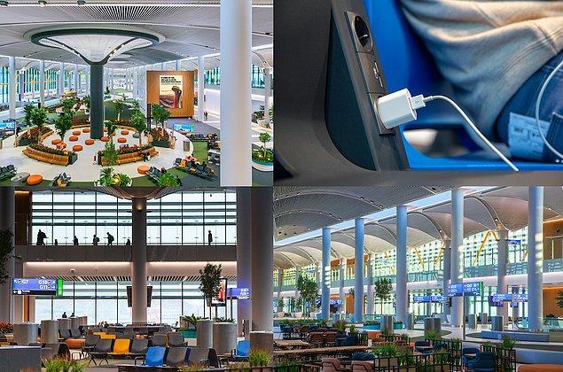 11. Uçuşunuzu beklerken, dinlenme alanlarındaki koltuklarda bulunan şarj aletleri ile elektronik eşyalarınızı dinlenirken şarj edebilirsiniz.