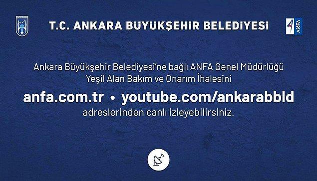 11. Ankara Büyükşehir Belediyesi tarafından açılan yaklaşık 400 milyon lira bedelli yeşil alan ihalesi Mansur Yavaş'ın talimatıyla YouTube'dan canlı olarak yayınlandı.
