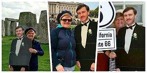 Hayallerindeki Dünya Turuna Vefat Eden Eşinin Fotoğrafını Bastırdığı Kartonla Çıkan Kadın