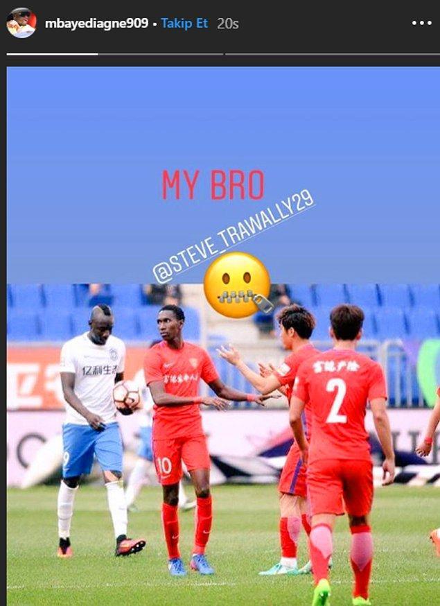 Ardından Gambiyalı Bubacarr Trawally'nin fotoğrafını kendi profilinde paylaşan Diagne, ''Kardeşim'' notunu düştü.