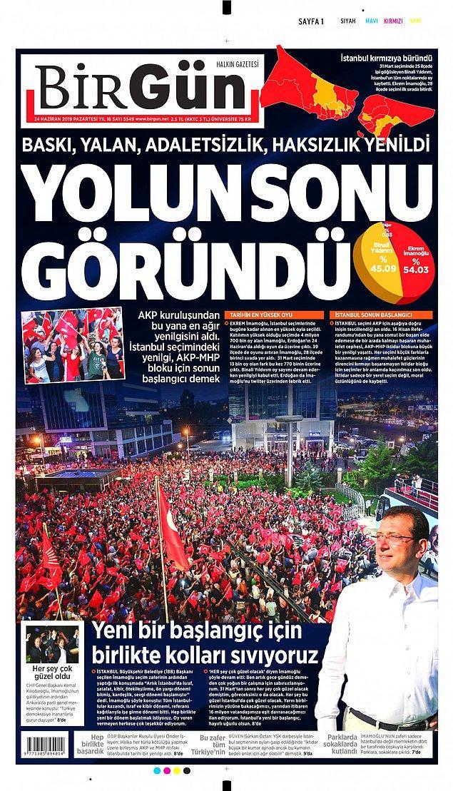 """Birgün gazetesi """"Yolun sonu göründü"""" başlığını kullandı ve manşette """"AKP'nin en ağır yenilgisi"""" vurgusunu yaptı."""