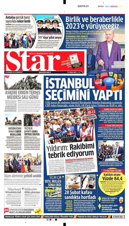 """Star yine """"İstanbul Seçimini Yaptı"""" başlığını kullandı, İmamoğlu'nun küçük bir fotoğrafı kullanıldı."""