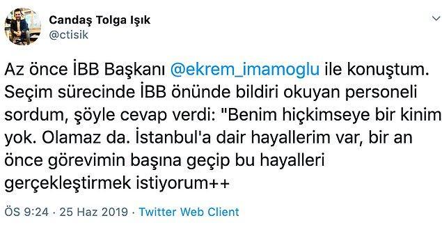 Gazeteci Candaş Tolga Işık, İmamoğlu'nun açıklamalarını şu paylaşımlarla duyurdu 📌