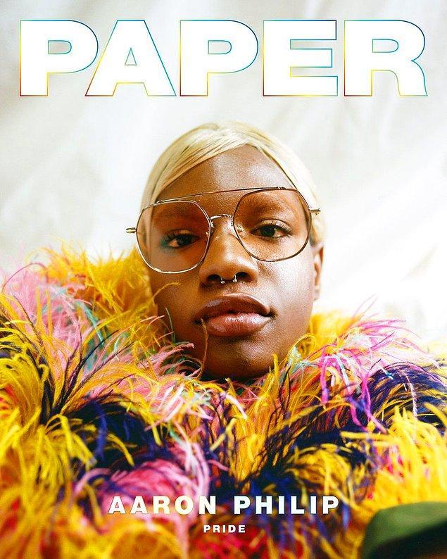Haziran demek Pride demek! Dünyanın en önde gelen dergilerinden biri olan PAPER, Aaron Philip'i kapak modeli yaptı.