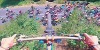 Fransa Bisiklet Turu'nda Yarışanların Üzerlerinden Bisikletle Atlayan Çılgın Adam!