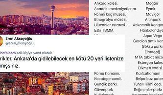 Ankara'da Gezilecek Yerler Listesine AVM'leri de Ekleyen Twitter Kullanıcısı Sosyal Medyanın Diline Düştü
