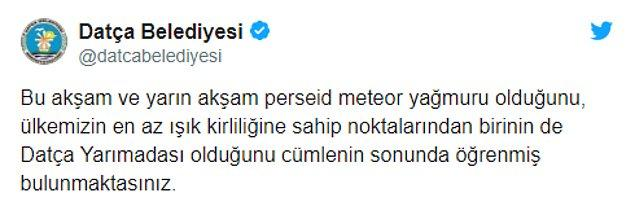 Işık kirliliğinin önemini Datça Belediyesi de perseid meteor yağmuru için attı tweetinde vurgulamıştı