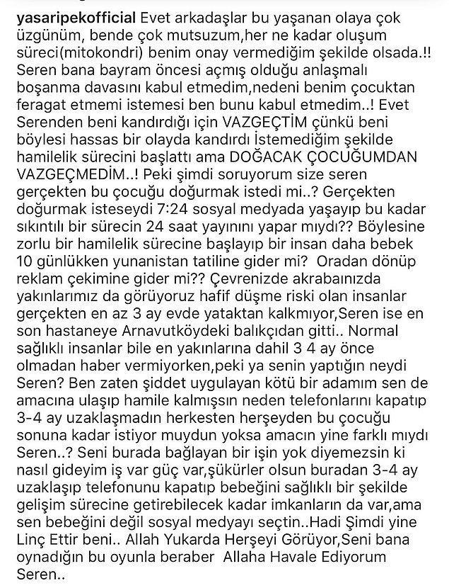 Yaşar İpek ise Seren Serengil'in bebeğini kaybetmesinin ardından sosyal medya üzerinden bir açıklama yaptı.