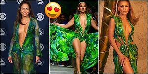 19 Yıl, Aynı Elbise, Aynı J.Lo! Jennifer Lopez Yıllar Sonra İkonik Yeşil Elbisesiyle Podyumu Salladı
