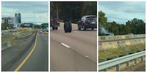 Kamyondan Fırlayan Dev Tekerlek Trafikte Ortalığı Birbirine Kattı