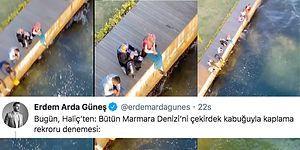 Yedikleri Çekirdekleri Marmara Denizi'ne Atan Kişiler Sosyal Medyanın Gündeminde