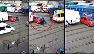 Patlamış Mısır Alıp İzlemelik: Tramvay Yolunun Ortasına Park Ederek Kaos Yaratan Araba