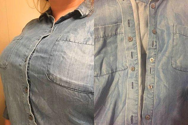 21. Düğmeler arasındaki istenmeyen boşlukları yok eden gömlek tasarımı. 👔
