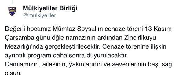 Soysal, 13 Kasım Çarşamba günü, Sevgi Soysal'ın da mezarının bulunduğu Zincirlikuyu Mezarlığı'nda toprağa verilecek.