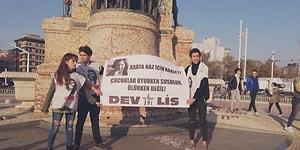 Taksim'de 'Rabia Naz İçin Adalet' Pankartıyla Eylem Yapan Dev-Lis Üyeleri Gözaltına Alındı