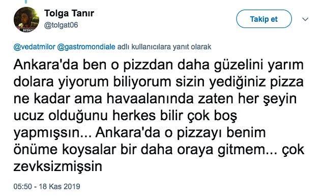 """Fakat Tolga Tanır isimli takipçi, Milor'un uzmanlık konusundan daha uzman bir yorum yaptı ve ünlü gurmeye """"BOŞ YAPMA"""" dedi :)))))"""