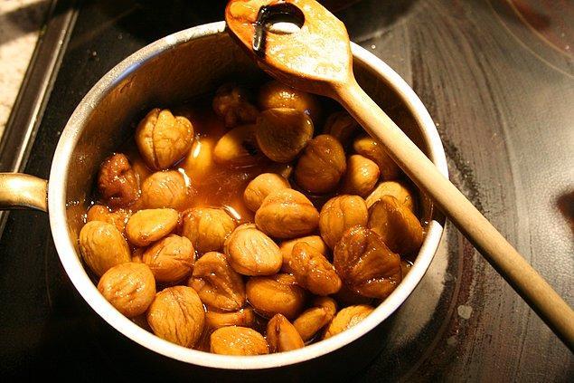 Kestane Şekeri yapmak için gereken malzemeler: