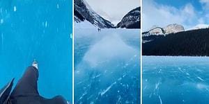 Kanada'da Donmuş Bir Göl Üzerinde Paten Yapan Kişinin Kaydettiği Muhteşem Görüntüler!