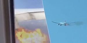 Motoru Havadayken Alev Alan Uçağın Korku Dolu Anları!