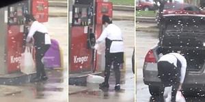 Benzini Poşete Doldurup, Sızdırınca Bir Poşet Daha Geçiren Kadının İlginç Görüntüleri