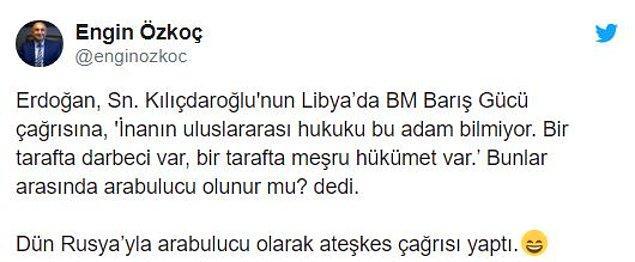 CHP Grup Başkanvekili Engin Özkoç da Cumhurbaşkanı Erdoğan'ı, Libya çelişkisine dikkat çekerek eleştirdi.