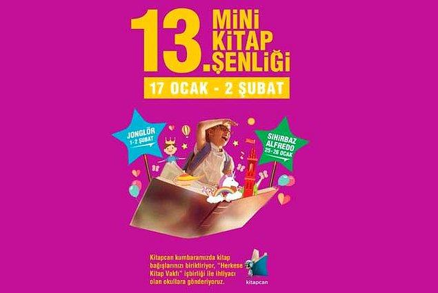 Kadıköy'de Tepe Nautilus'un her yıl gerçekleştirdiği Mini Kitap Şenliği, bu yıl 13. kez düzenlenecek. Kitap kurtlarının heyecanlanacağı bir etkinlik olacak.