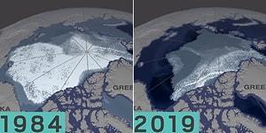 1984 Yılından 2019 Yılına Kadar Arktik Okyanusu'ndaki Buzulların Nasıl Eridiğini Gözler Önüne Seren Korkutucu Video!