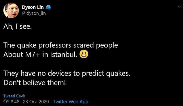 Korkulan İstanbul depremi hakkında ise şöyle bir yorumu bulunuyor kendisinin: