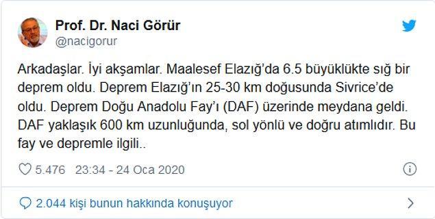 Önemli deprem uzmanlarından olan Prof. Dr. Naci Görür'ün şu açıklaması ise oldukça düşündürücü.