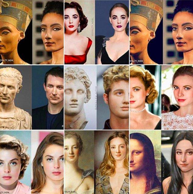 Instagramda 'royalty_now' isimli hesap bilgisayar ortamında soyluların, kraliyet mensuplarını ve ünlülerin portrelerini yeniden canlandırıyor.