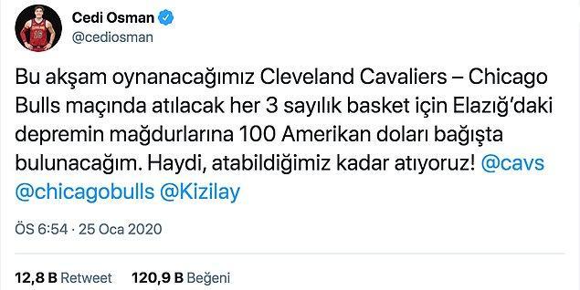NBA'de Cleveland Cavaliers forması giyen milli basketbolcumuz Cedi Osman, Elazığ'daki depremzedelere destek için Chicago Bulls maçı öncesinde yardım çağrısında bulundu.